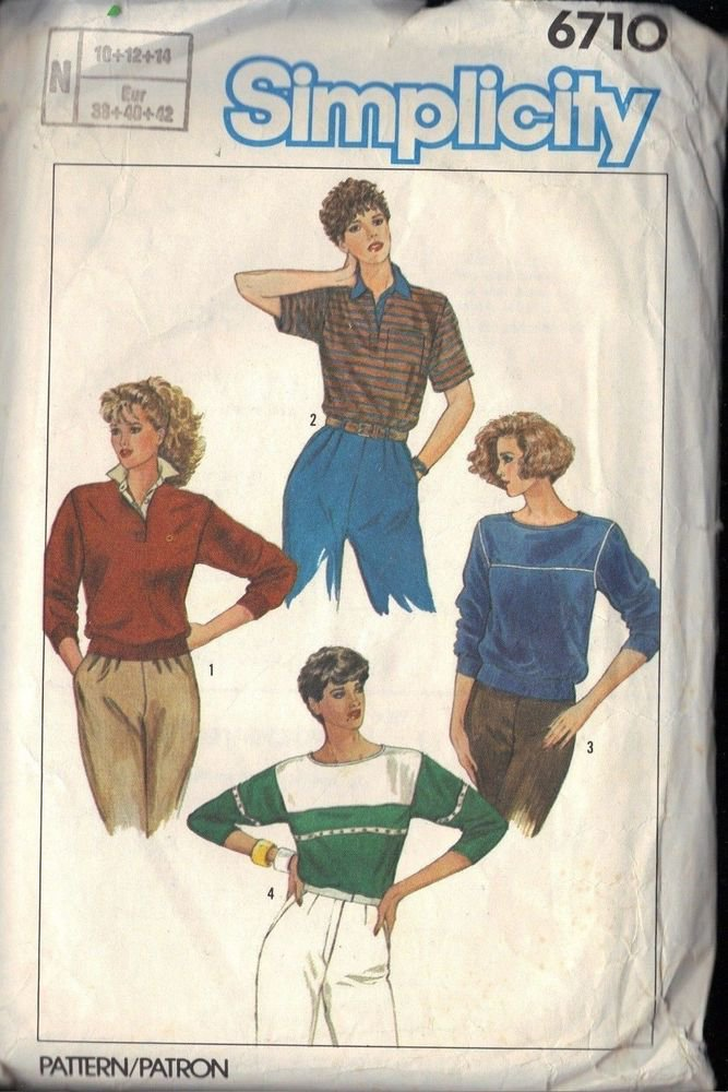 SIMPLICITY 6710 SZ 12 PATTERN SET OF MISSES' TOPS MADE WITH STRETCH KNITS
