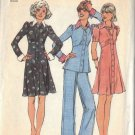 SIMPLICITY 6606 PATTERN DATED 1974 MISSES' SHORT DRESS OR TOP AND PANTS SIZE 12