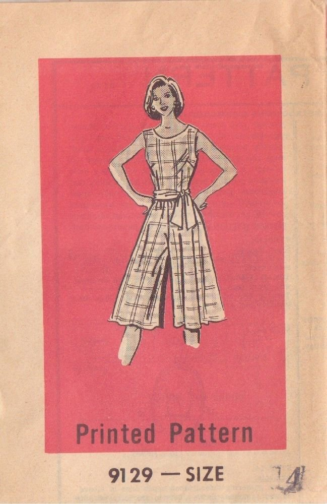PRINTED PATTERN 9129 SIZE 14 MISSES' ONE PIECE CULOTTE DRESS