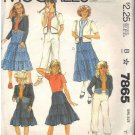 McCall's pattern 7865 dated 1982 GIRLS' JACKET, SKIRT, PANTS SIZE 7