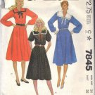 McCall's pattern 7845 dated 1981 Misses' DRESS IN 3 VARIATIONS SZ 14