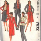 McCall's pattern 7672, dated 1981, for a Misses' JACKET, TOP, SKIRT, PANTS SZ 12