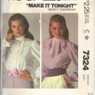 McCALL'S PATTERN 7324 DATED 1980 SZ 12 MISSES' BLOUSE IN 2 VERSIONS UNCUT