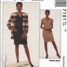 McCall's pattern 7151, dated 1994 Sz 14 Misses' Cardigan & Dress by Jones NY