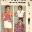 McCall's pattern 7046, dated 1980, Misses' shirt and camisole small 10/12