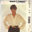McCall's 7365 Pattern dated 1980 Size Small 10/12  Misses' Princess Di blouse UNCUT
