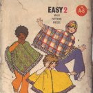 BUTTERICK PATTERN 5899 FROM THE 1960'S, PONCHO IN 3 VARIATIONS MD 8-10