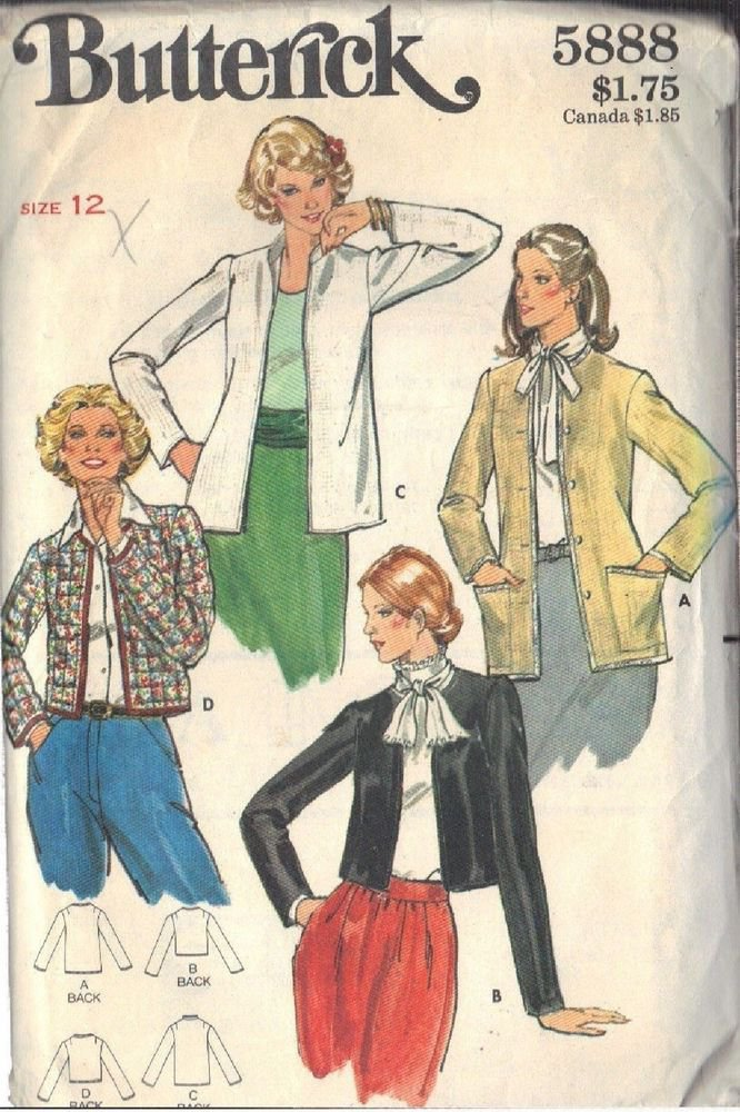BUTTERICK PATTERN 5888 MISSES' JACKETS IN FOUR VARATIONS SIZE 12