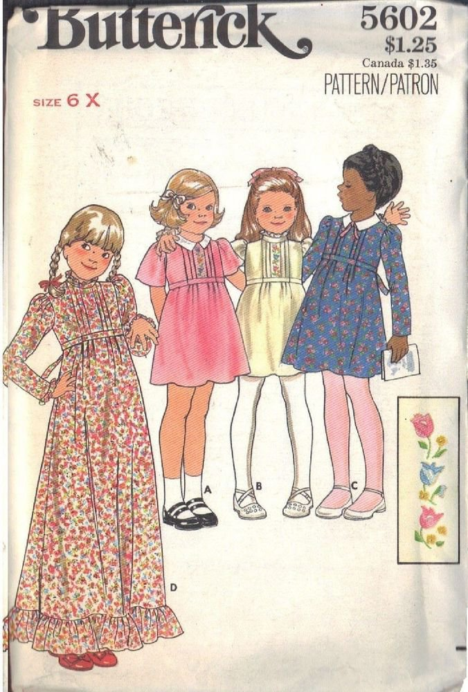 BUTTERICK PATTERN 5602 FOR GIRLS' DRESS IN 4 VARIATIONS IN SIZE 6X UNCUT