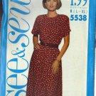 BUTTERICK PATTERN 5538 MISSES' DRESS SIZES LG 16-18, XLG 20-22 UNCUT