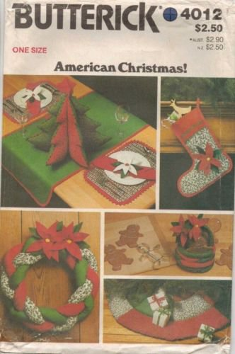 BUTTERICK PATTERN 4012 CHRISTMAS ACCESSORY PACKAGE UNCUT