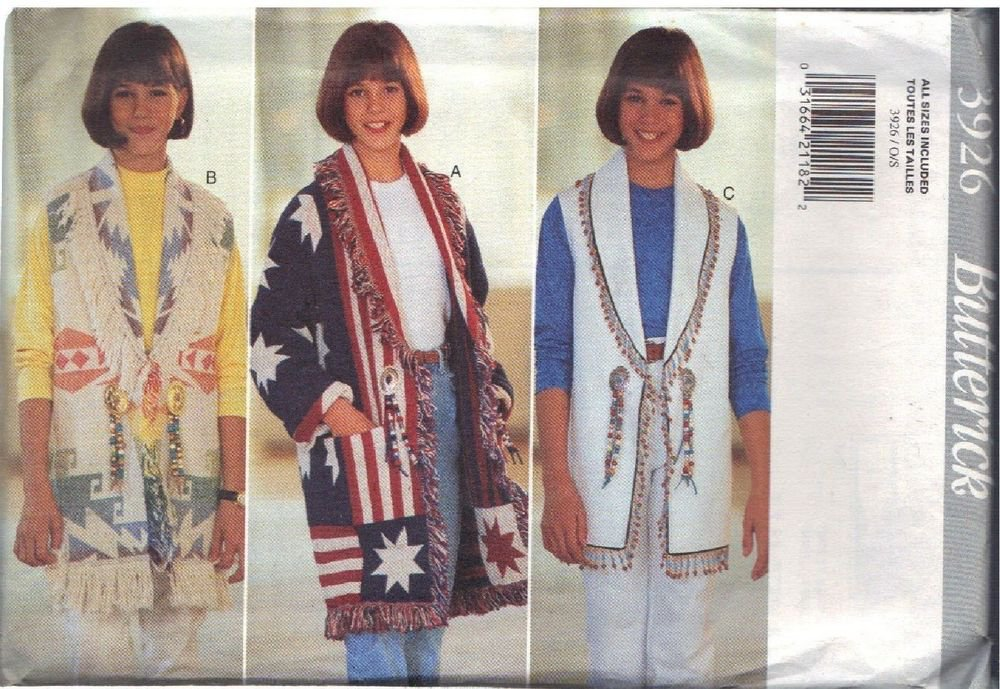 BUTTERICK PATTERN 3926, GIRLS' JACKET, VEST SZS S, M, L UNCUT
