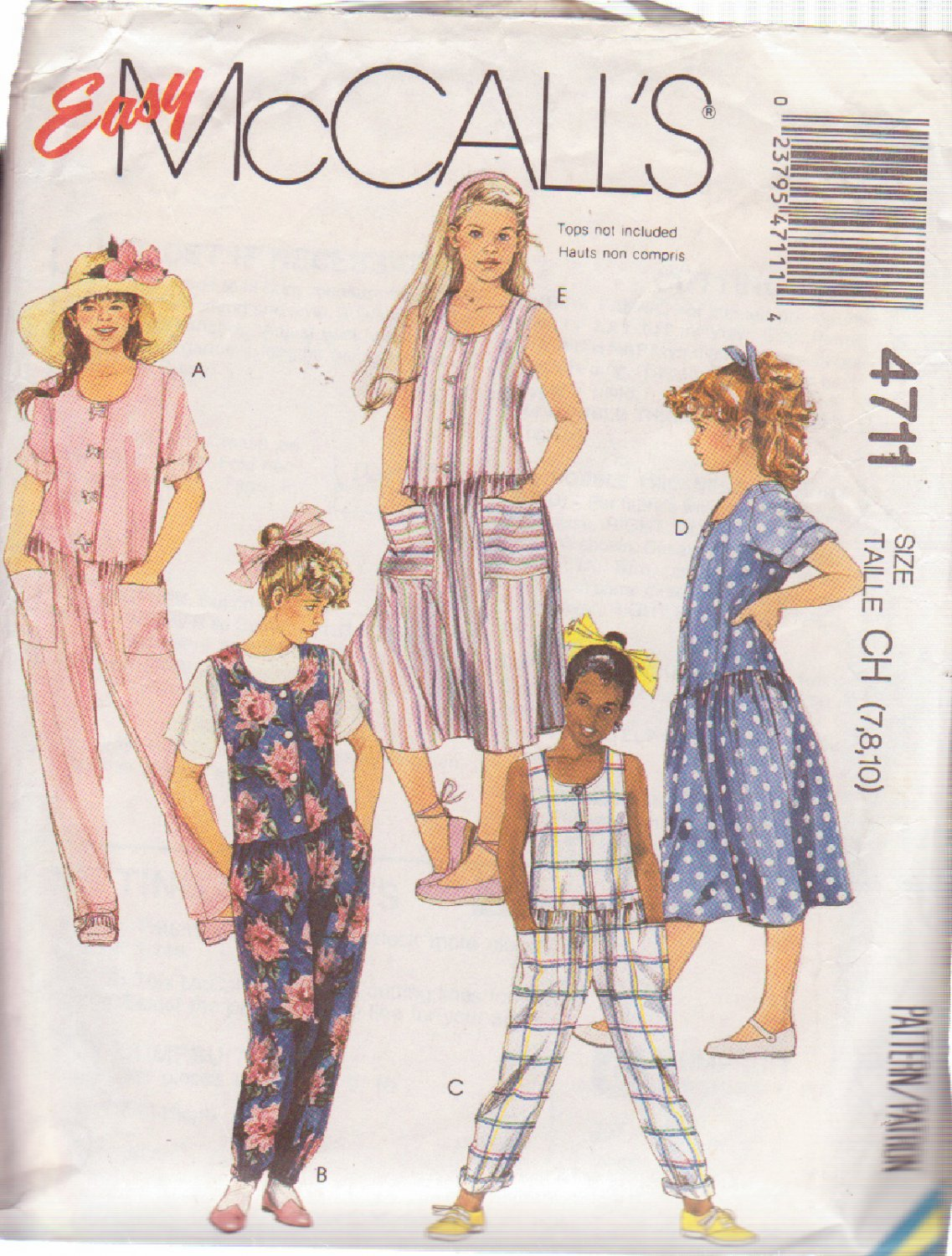 McCALL'S PATTERN 4711 GIRLS' JUMPSUITS AND DRESS SIZES 7/8/10