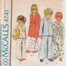 McCALL'S PATTERN 4741 CHILD'S ROBE AND PAJAMAS SIZE 2