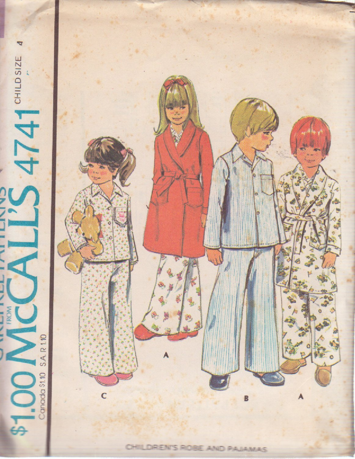 McCALL'S 1975 PATTERN 4741 SIZE 4 UNISEX CHILD'S ROBE AND PAJAMAS