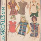 McCALL'S PATTERN 5114 MISSES' SET OF TOPS, VESTS BLUE TRANSFER SIZE MD 14/16