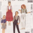 McCALL'S PATTERN 5185 GIRL'S JUMPER, JUMPSUIT, ROMPER, TOP SIZE 8