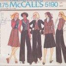 McCALL'S PATTERN 5190 MISSES' UNLINED JACKET, VEST, SKIRT, PANTS SIZE 12