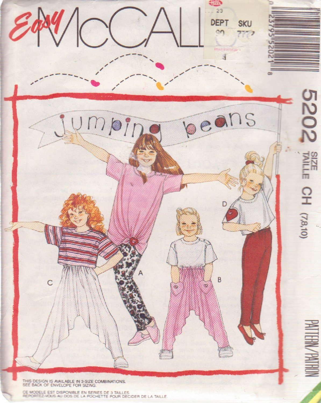McCALL'S PATTERN 5202 GIRLS' TOP IN 3 LENGTHS, PANTS, LEGGINGS SIZES 7/8/10