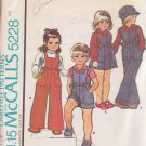 McCALL'S PATTERN 5228 TODDLER'S JUMPER, JUMPSUIT, SHIRT, HAT SIZE 1