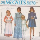 McCALL'S PATTERN 5278 GIRL'S DRESS 2 LENGTHS, PINAFORE APRON SIZE 5