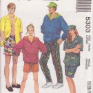 McCALL'S PATTERN 5303 UNISEX SWEATSHIRT, SHIRT, PANTS, SHORTS, HAT SIZE LG