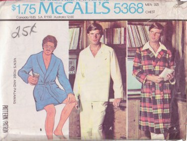 McCALL'S PATTERN 5368 MEN'S ROBE 2 LENGTHS AND PAJAMAS SIZE MEDIUM 38/40
