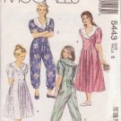 McCALL'S PATTERN 5443 GIRL'S DRESS AND JUMPSUIT SIZE 8