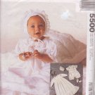 McCALL'S PATTERN 5500 NB, SM, MD INFANTS' GOWN, SLIP, ROMPER, BONNET, BOOTIES