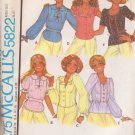 McCALL'S PATTERN 5822 MISSES' BLOUSES IN 6 VARIATIONS SZ 8 UNCUT