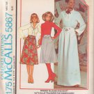 McCALL'S PATTERN 5867 SZ 8 MISSES' BLOUSE, SKIRT WITH EMBROIDERY TRANSFER UNCUT