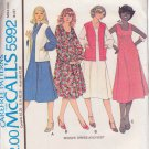 McCALL'S PATTERN 5992 MISSES' DRESS IN 3 VARIATIONS AND VEST SZ 12 UNCUT