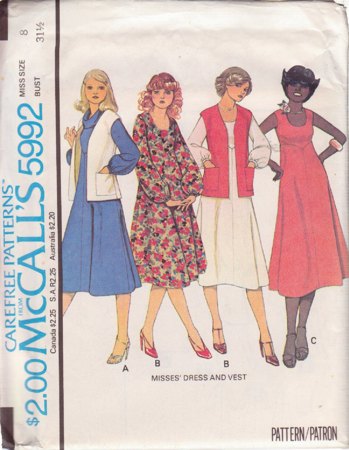 McCALL'S PATTERN 5992 SZ 8 MISSES' DRESS IN 3 VARIATIONS AND VEST UNCUT