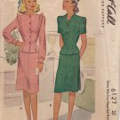 McCALL'S VINTAGE PATTERN 6127 MISSES' 1945 2-PIECE SUIT DRESS 2 STYLES SIZE 12
