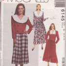 McCALL'S PATTERN 6145 MISSES' 2-PC DRESS TOP, SKIRT, SPLIT SKIRT SIZE 8/10/12