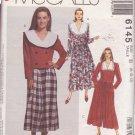 McCALL'S PATTERN 6145 MISSES' 2-PC DRESS TOP, SKIRT, SPLIT SKIRT SIZE 8/10/12