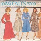 McCALL'S PATTERN 6209 SIZE 8/10/12 MISSES' DRESS IN 2 LENGTHS, 5 VARIATIONS