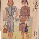 McCALL'S VINTAGE PATTERN 6319 MISSES' 1945 DRESS IN 2 VARIATIONS SIZE 18