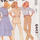 McCALL'S PATTERN 6443 MISSES' TUNIC OR TOP, SKIRT, PANTS SIZE 14 UNCUT