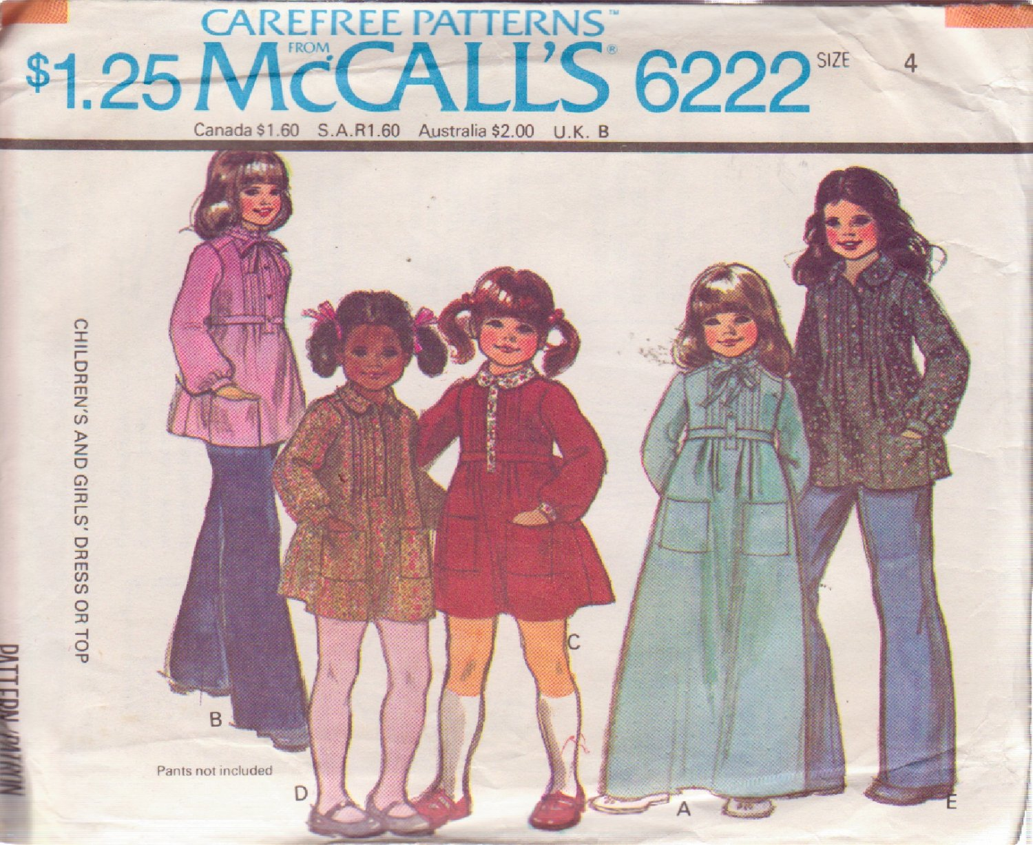 McCALL'S PATTERN 6222 SIZE 4 GIRLS' DRESS IN 2 LENGTHS, TOP IN 2 VARIATIONS