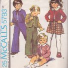 McCALL'S PATTERN 5793 CHILD'S JACKET, VEST, SKIRT, SHIRT, PANTS SIZE 5 UNCUT