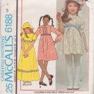 McCALL'S PATTERN 6188 GIRLS' DRESS IN 2 LENGTHS, HAT SIZE 6 UNCUT