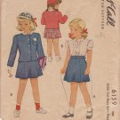 McCALL'S VINTAGE PATTERN 6139 GIRLS' 2 PIECE SUIT, BLOUSE  SIZE 8