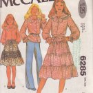 McCALL'S PATTERN 6285 GIRLS' BLOUSE AND WRAP SKIRT SIZE 7