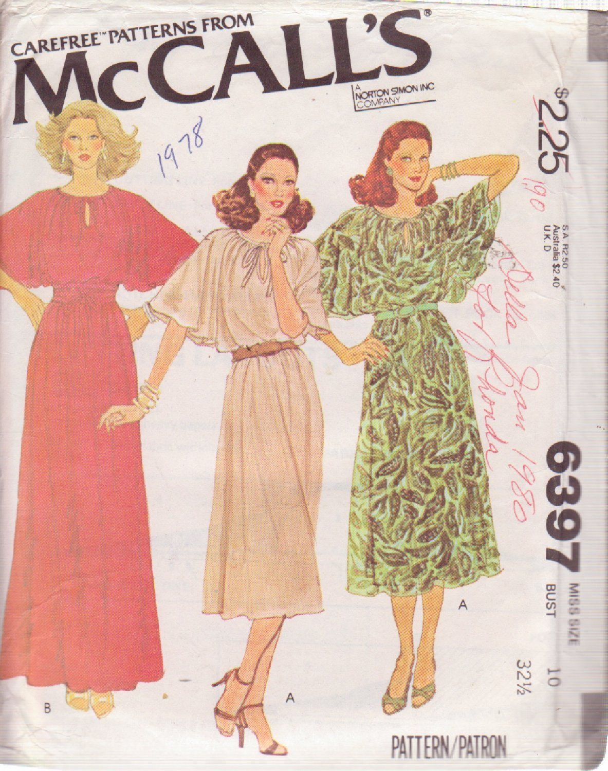 McCALL'S PATTERN 6397 SIZE 10 MISSES' DRESS IN 2 LENGTHS