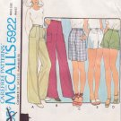 McCALL'S PATTERN 5922 MISSES' PANTS OR SHORTS IN VARIATIONS SIZE 10 UNCUT