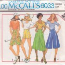 McCALL'S PATTERN 6033 MISSES' PANTSKIRT IN 4 LENGTHS AND TOP SIZE 12 UNCUT