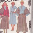 McCALL'S PATTERN 6260 MISSES' UNLINED JACKET, BLOUSE, SKIRT, SHAWL SIZE 12 UNCUT