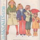 McCALL'S PATTERN 5738 CHILD'S COAT OR JACKET, SHIRT, PANTS, CULOTTES SZ 6 UNCUT