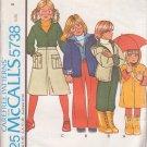 McCALL'S PATTERN 5738 SZ 5 CHILD'S COAT OR JACKET, SHIRT, PANTS, CULOTTES UNCUT